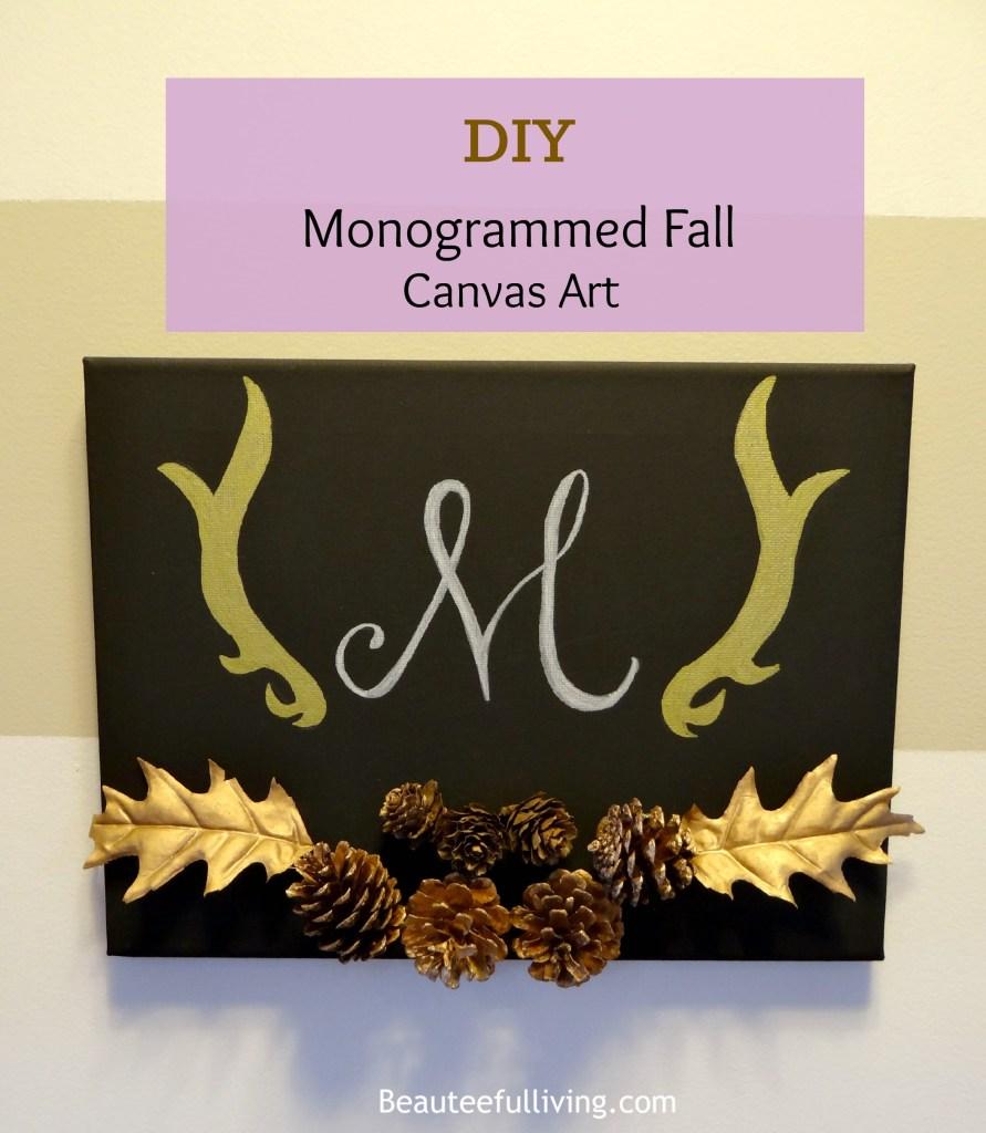 Monogrammed Fall Canvas Art