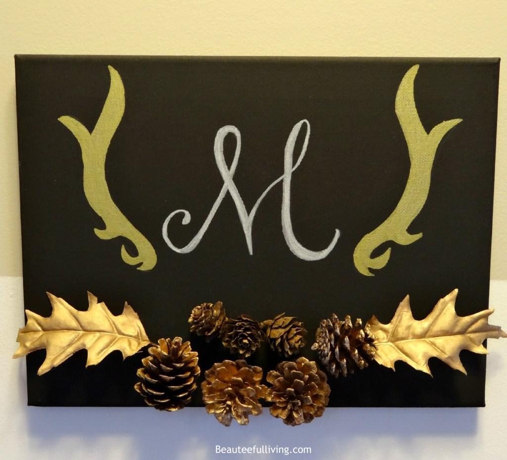 Monogrammed fall themed canvas art