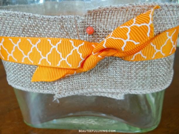 Securing burlap and ribbon