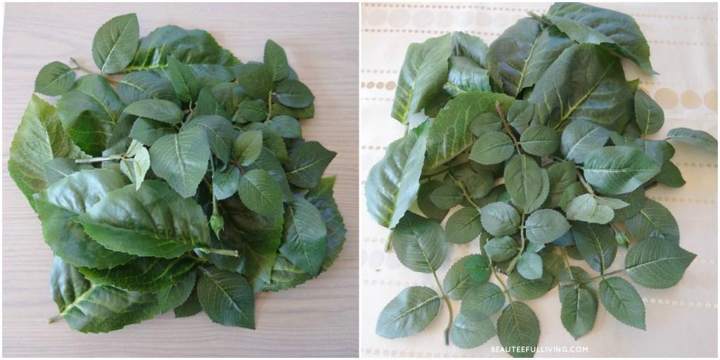 Cut silk foliage leaves