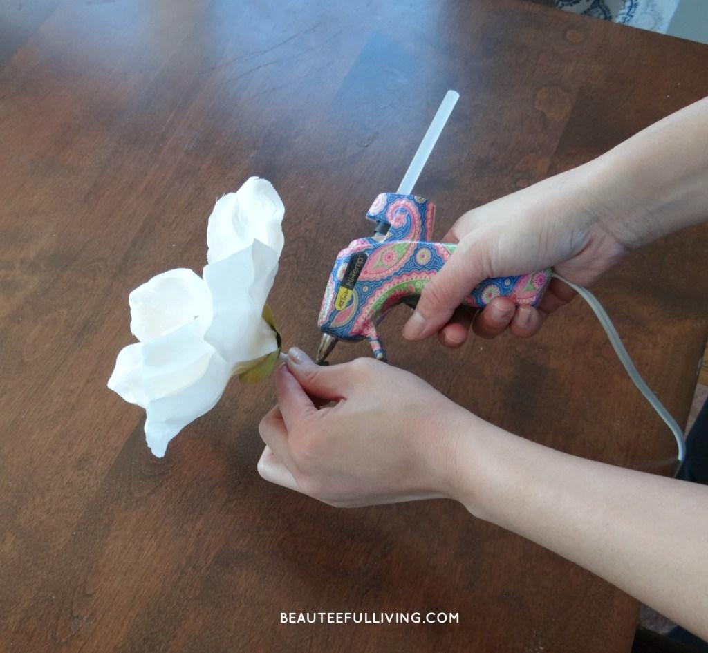 Gluing Magnolia Flower
