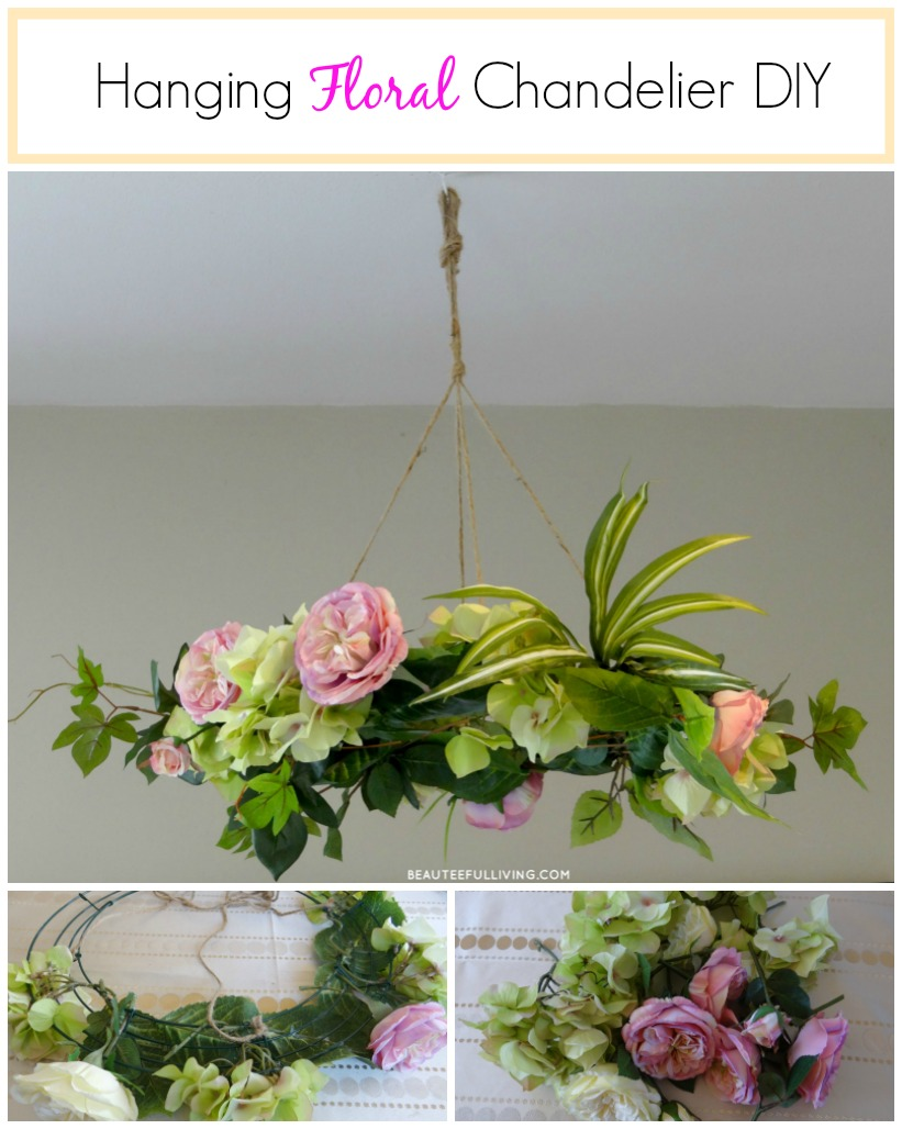 Hanging floral chandelier diy beauteeful living hanging floral chandelier diy beauteeful living arubaitofo Image collections