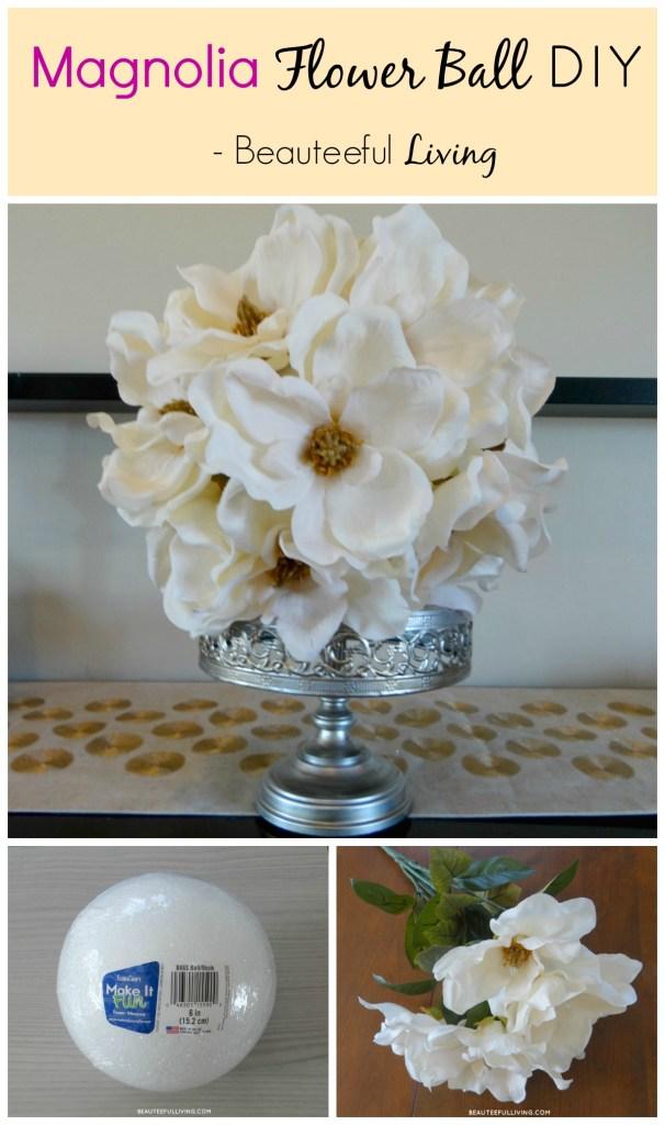 Magnolia Flower Ball DIY - Beauteeful Living