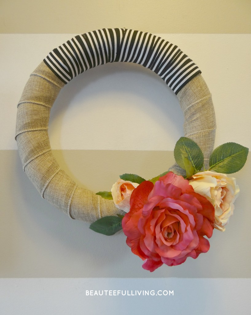 Modern Rose Bloom Wreath on wall