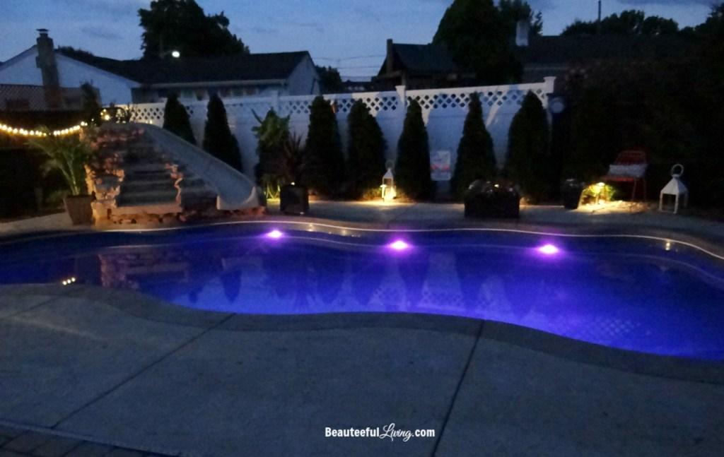 Inground Pool Night time view
