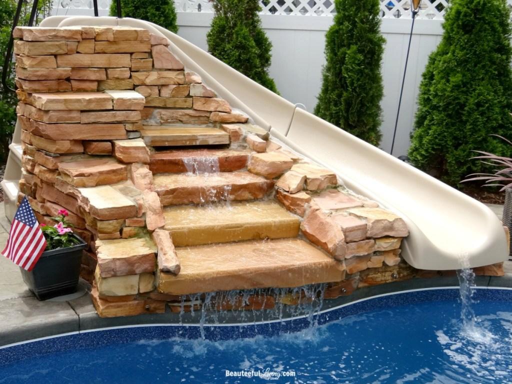 Pool Slide and Waterfall - Beauteeful Living