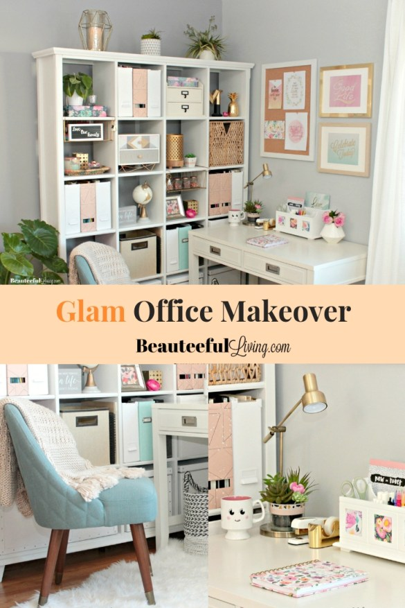Glam Chic Modern Office Makeover - Beauteeful Living