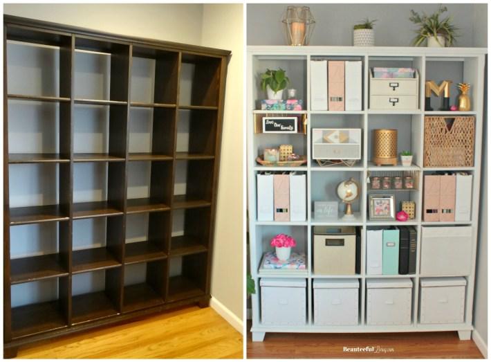Repainting Bookshelf White - Beauteeful Living