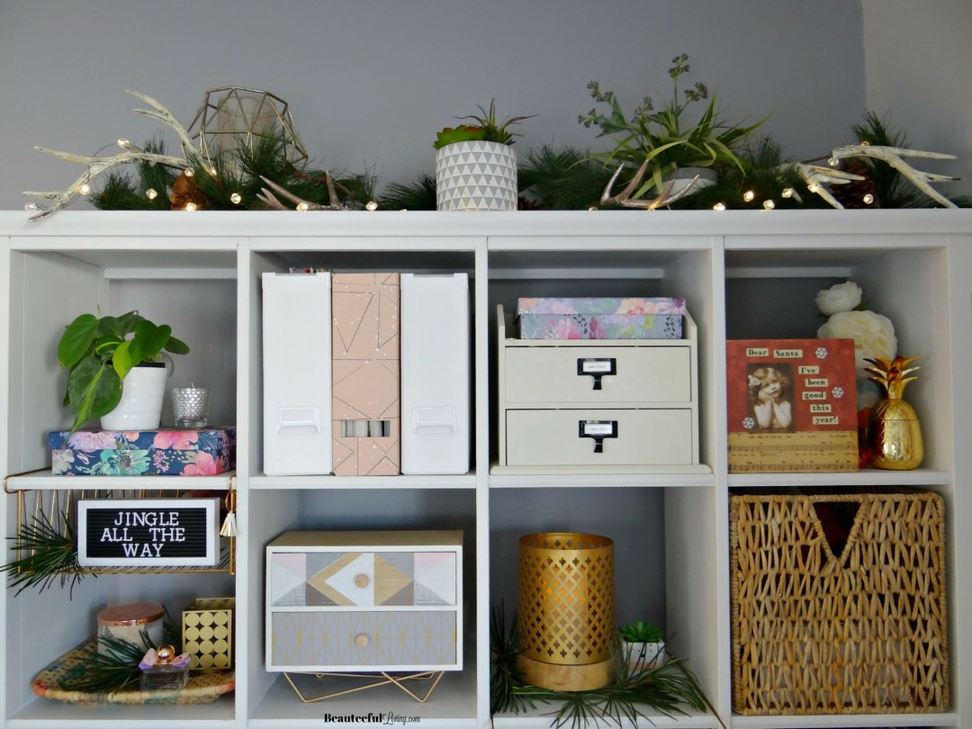 Decorating Bookshelf for Christmas - Beauteeful Living