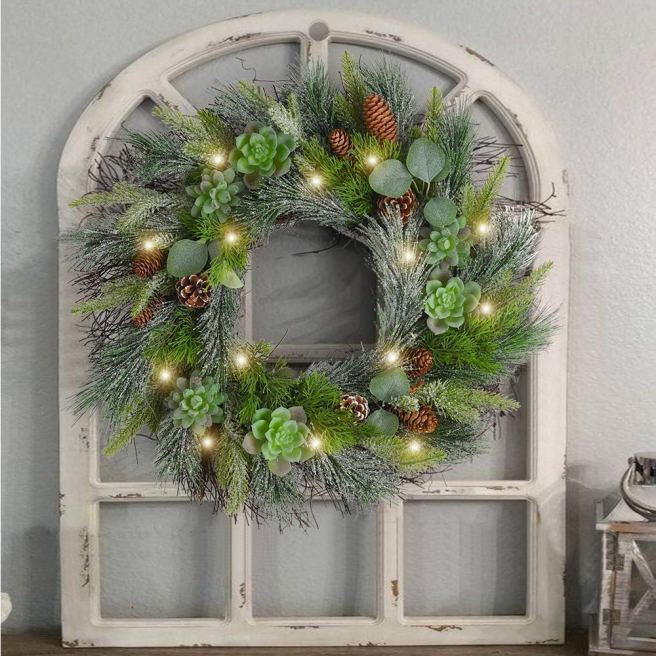 Pre-Lit Christmas Wreath with Succulents and Pinecones