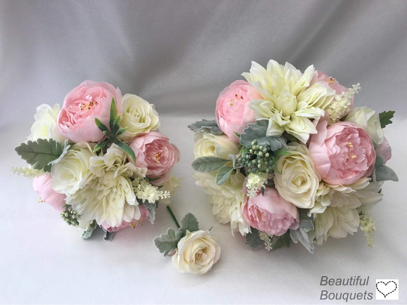 Artificial Wedding Flowers Package Silk Roses & Peonies