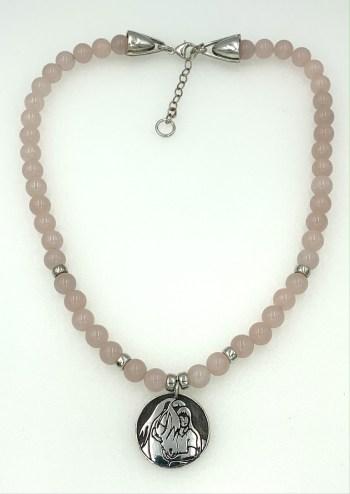 Rose quartz and Quiet Time pendant, a full view.