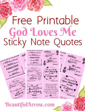 Sticky Note God Loves Me  Printable pinnable pic