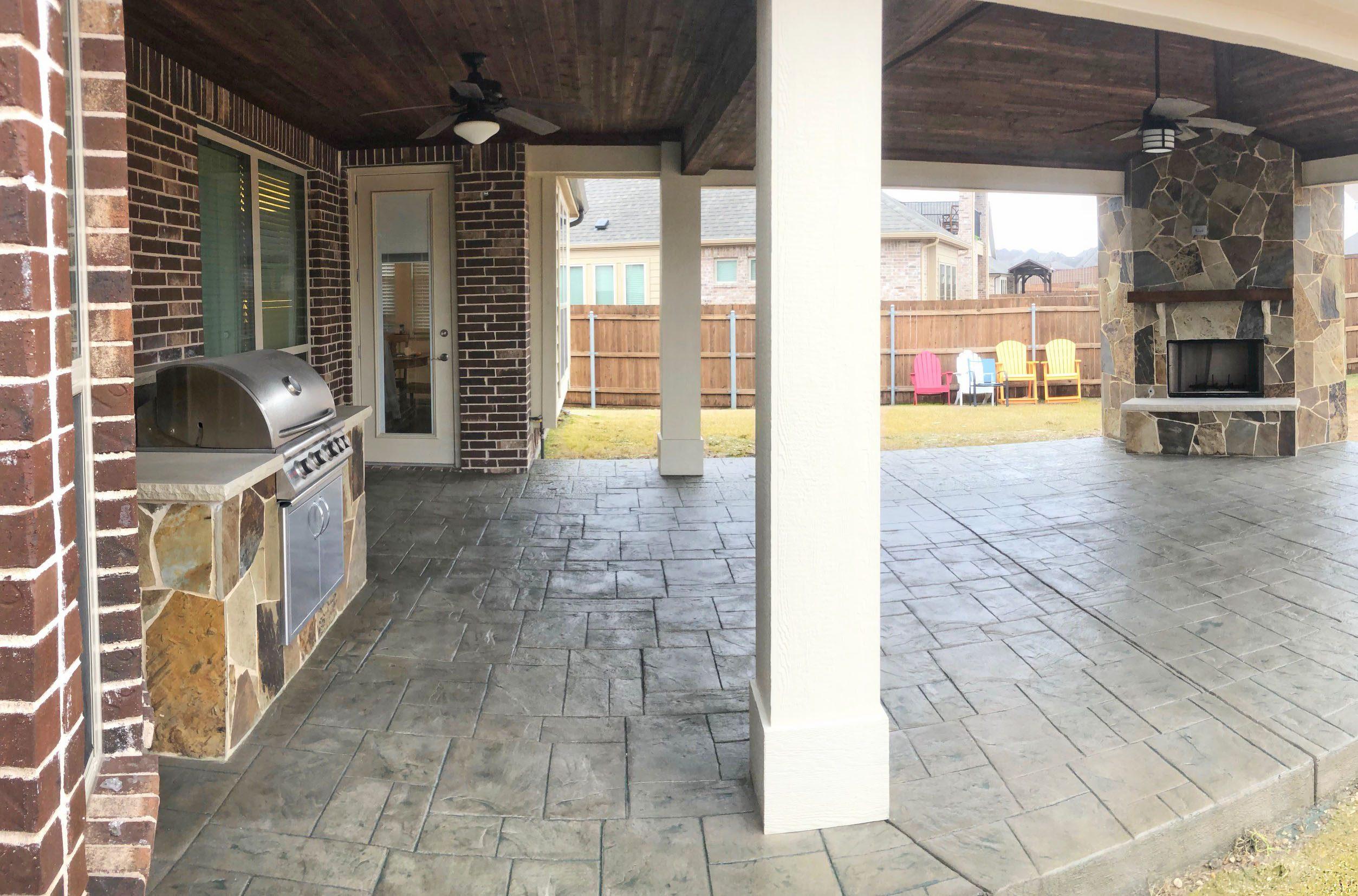 prosper stamped concrete patio outdoor