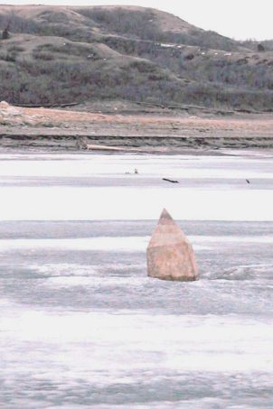 Four Bears Monument pokes through the ice of Lake Sakakawea in 2005.