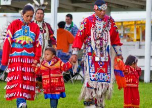Families participate in the Twin Buttes Powwow