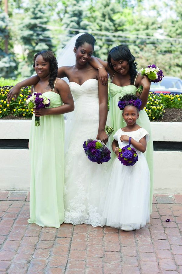 Purple Bridesmaid Dress Lime Green Bouquet