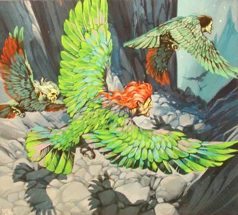 Angus McBride Beasts Harpies illus