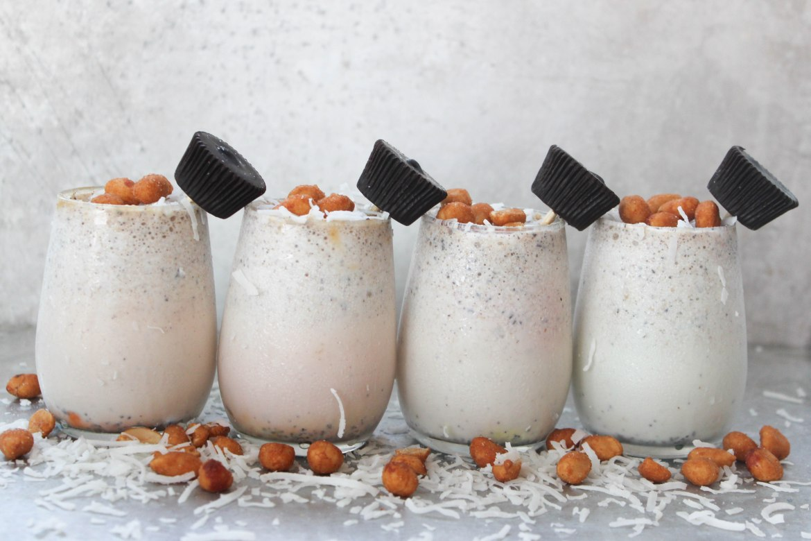 , Honey Roasted Peanut, Coconut, and Peanut Butter Cup Milkshakes