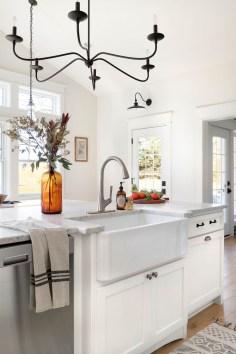 how to decorate kitchen with white farmhouse countertop decor