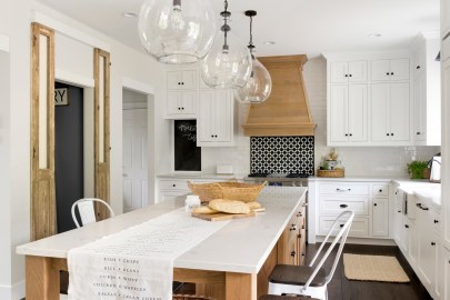 modern french country kitchen island and lighting