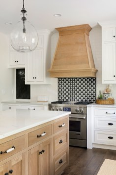 modern french country kitchen hood and lighting