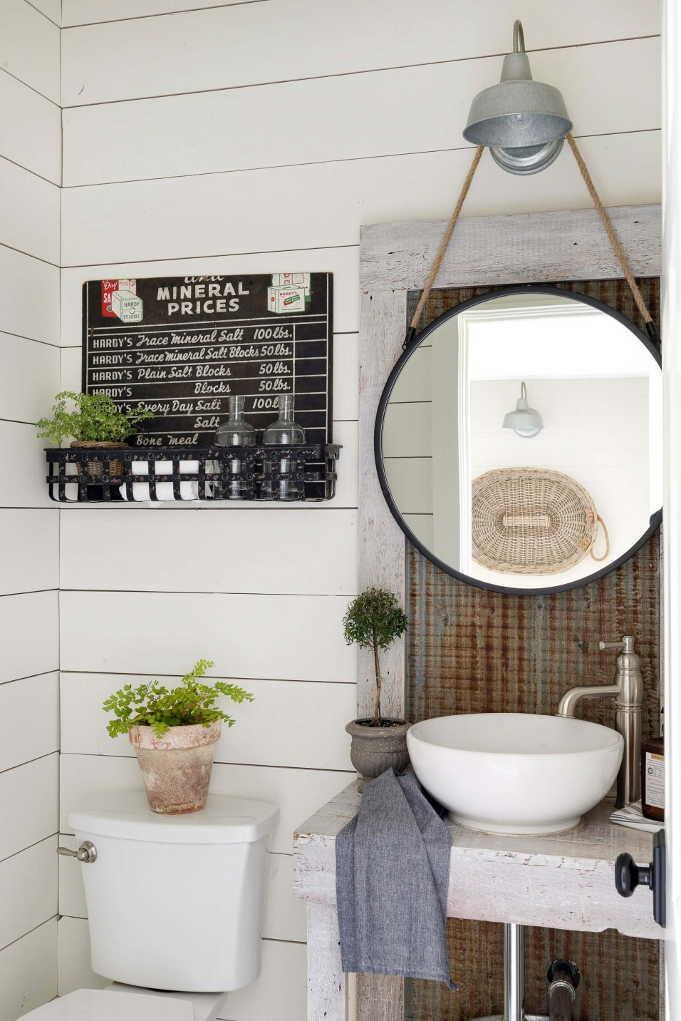 Powder Room with Salvaged Decor
