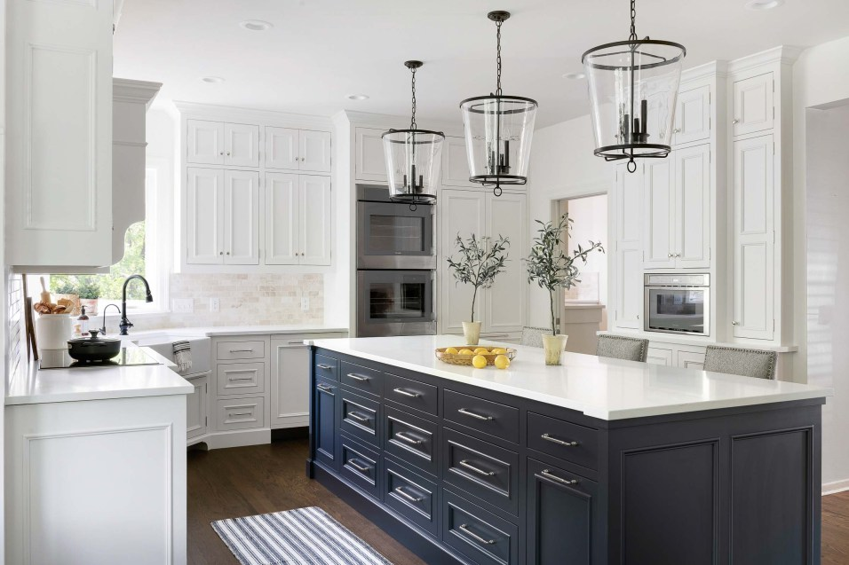 Classic White Kitchen with Blue Island