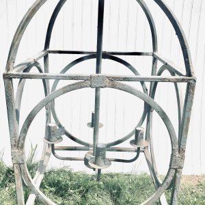 Green Jute Metal Bird Cage Chandelier