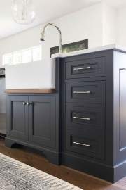 Black Kitchen Island with Farmhouse Sink