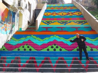 Thumbs Up on the colorful steps of Amman Jordan - by Anika Mikkelson - Miss Maps