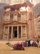 Camels relax in front of Petra's Treasury in the early morning light- by Anika Mikkelson - Miss Maps - www.MissMaps.com