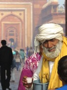 Look at his peaceful gaze - Sipping chai and requesting donations - Amber Fort - Jaipur, India - by Anika Mikkelson - Miss Maps
