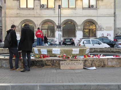 Memorial for October 30 2015 fire at Colectiv Nightclub which killed 63 and injured 148 - Bucharest Romania - by Anika Mikkelson - Miss Maps - www.MissMaps.com