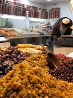 Dried fruits, nuts, and spices at Mahane Yehuda Market in Jerusalem - by Anika Mikkelson - Miss Maps - www.MissMaps.com
