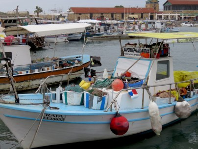 Fishing Boats of Paphos Cyprus - by Anika Mikkelson - Miss Maps - www.MissMaps.com