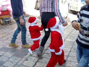 Santas in Sunglasses, Shawarma, and Cotton Candy - Merry Christmas from Bethlehem - by Anika Mikkelson - Miss Maps - www.MissMaps.com