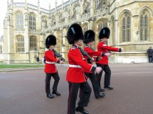 Guards signaling the beginning of Easter Service at St. George's Cathedral at Windsor Palace - Windsor, London, UK - by Anika Mikkelson - Miss Maps - www.MissMaps.com