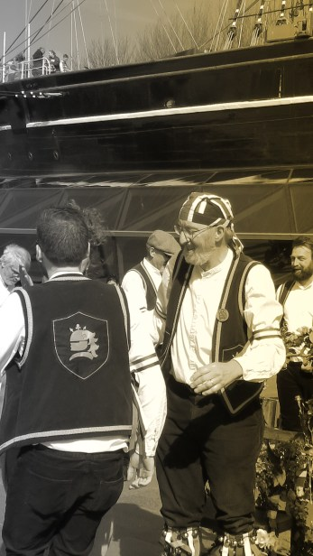 Members of the Blackheath Morris Men and Cutty Shark Ship in Greenwich London UK - by Anika Mikkelson - Miss Maps