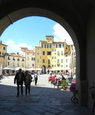 Stepping into the shadows - Lucca Italy - by Anika Mikkelson - Miss Maps - www.MissMaps.com