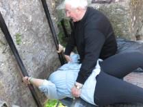 It looks awkward no matter who you are - Blarney Castle - Ireland - by Anika Mikkelson - Miss Maps - www.MissMaps.com