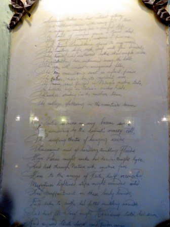 Robert Burns's Handwritten Poem above the fireplace in Kenmore Scotland - by Anika Mikkelson - Miss Maps - www.MissMaps.com