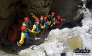 Celebrating after scrambling down a cliff while canyoning on Rakitnica River - Bosnia and Herzegovina BiH - photo by VisitKonjic.com