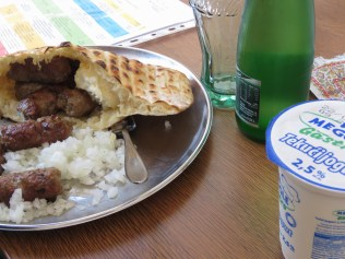 My favorite meal of all - Cevapi - at Cevadbdzinica Petica - Ferhatovic - Sarajevo BiH - by Anika Mikkelson - Miss Maps - www.MissMaps.com