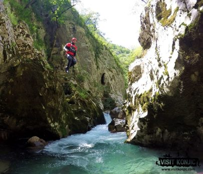 There he goes - Jumping into Rakitnica River - Bosnia and Herzegovina BiH - photo by VisitKonjic.com