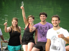 Cheers! We made it! Sampling Semič Sparkling Wine at Big Berry Slovenia - by Anika Mikkelson - Miss Maps - www.MissMaps.com