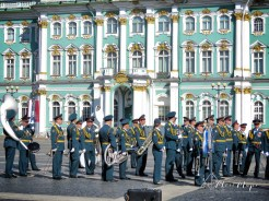 Military Band in front of Winter Palace - St Petersburg Russia - by Anika Mikkelson - Miss Maps - www.MissMaps.com