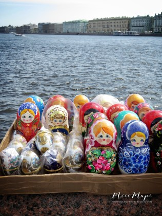 Nesting Dolls on the River - St Petersburg Russia - by Anika Mikkelson - Miss Maps - www.MissMaps.com