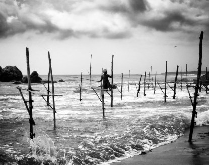A Single Stilt Fisherman - Kegalle Sri Lanka - by Anika Mikkelson - Miss Maps - www.MissMaps.com