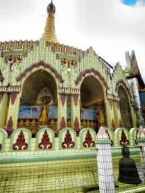 Bell and Round Exterior of Kaba Aye Pagoda - World Peace Pagoda - Yangon Myanmar - by Anika Mikkelson - Miss Maps - www.MissMaps.com